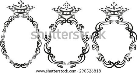 silhouette of royal frames - stock vector