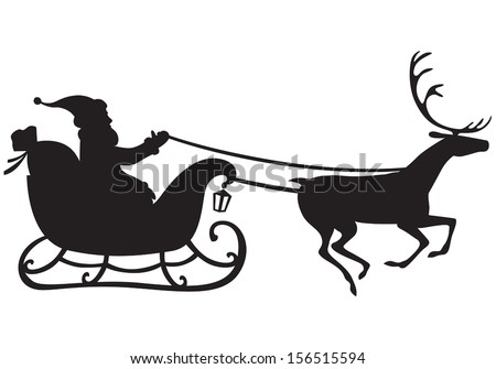 Silhouette of Santa Claus riding a sleigh pulled by reindeer, and carries a sack of gifts - stock vector