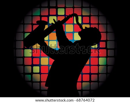 Silhouette of saxophone player on luminous background