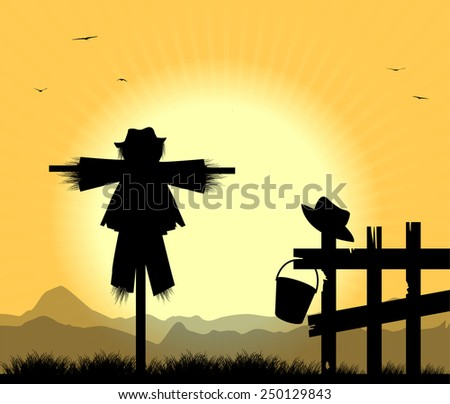 silhouette of scarecrows