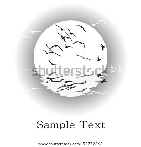 Silhouette of seagulls, vector black-and-white card. - stock vector