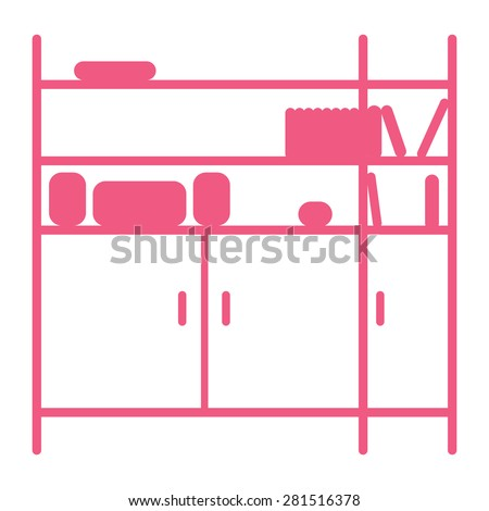 Silhouette of shelving. Pink and white. Isolated on white background. - stock vector