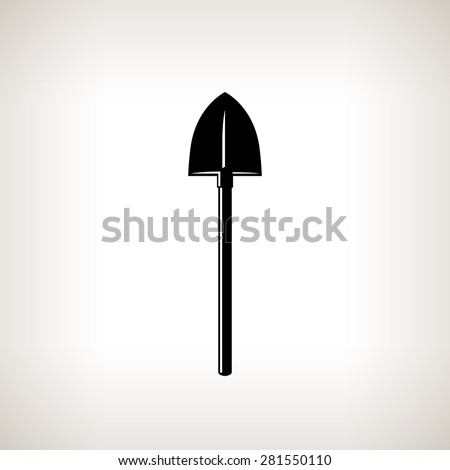Silhouette of Shovel on a Light Background, a Tool for Digging,Black and White Vector Illustration - stock vector
