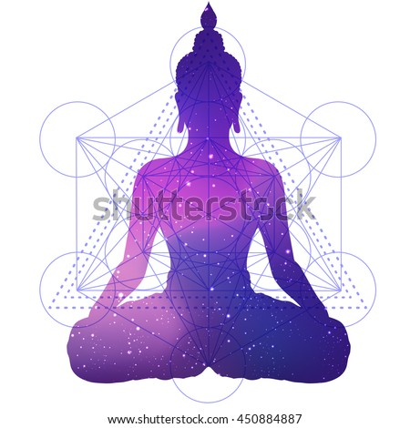 Silhouette of sitting Buddha with space and stars inside over sacred geometry background. Vector illustration. Vintage composition. Indian, Buddhism, Spiritual motifs. Tattoo, yoga, spirituality.