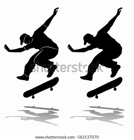Clip Art Illustration Silhouette Boy Riding Stock ...