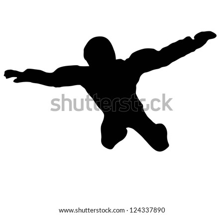 Silhouette of sky diver free falling from sky