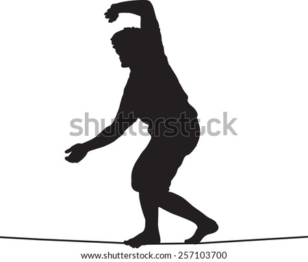 Silhouette of slackliner balancing on tightrope, nearly falling - stock vector