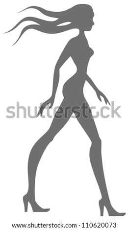 Silhouette of slender young woman