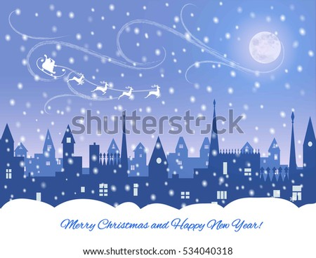 silhouette of snowing  winter town,  santa  in sleight, reindeers, vector illustration