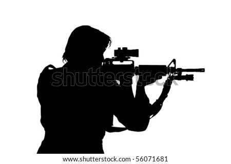 silhouette of soldier aiming the gun - stock vector
