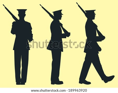 Silhouette of Soldier in the Military Holding Rifle - stock vector