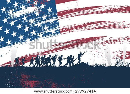 Silhouette of soldiers fighting at war with American flag as a background, vector - stock vector