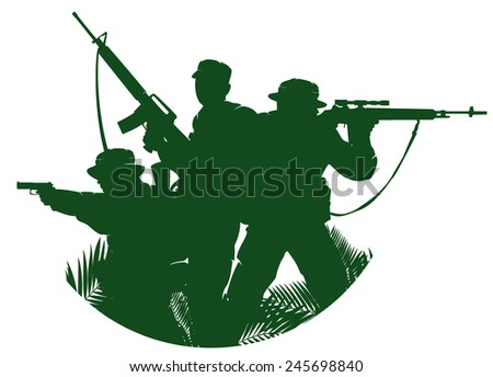 silhouette of soldiers in action. vector illustration 2 - stock vector