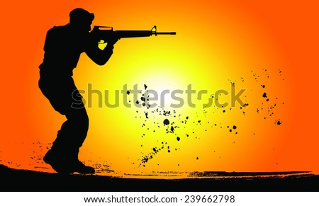Silhouette of soldiers with rifle against a sunset - stock vector
