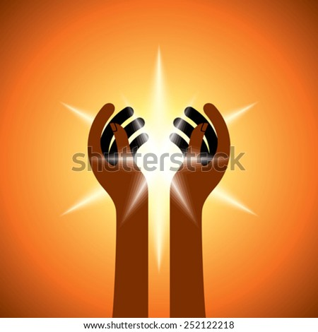 Silhouette of spiritual hands - stock vector