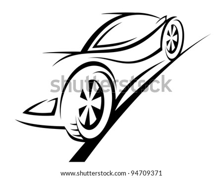 Silhouette of sport car for racing sports design. Jpeg version also available in gallery - stock vector