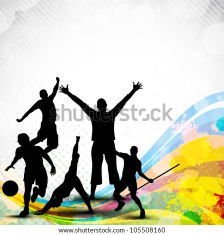 Silhouette of sports persons or athletes on abstract grungy and colorful wave background. EPS 10. - stock vector