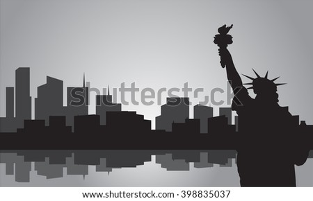Silhouette of statue liberty with gray color