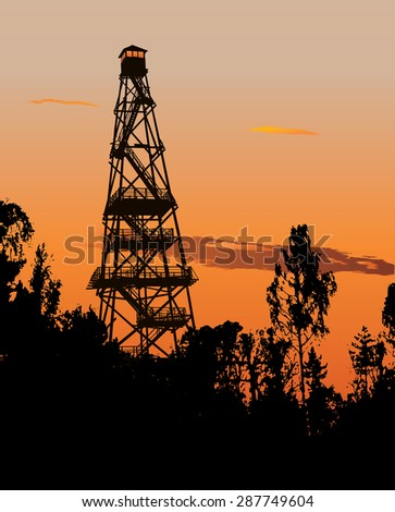 Silhouette of tall forest fire watch tower - stock vector