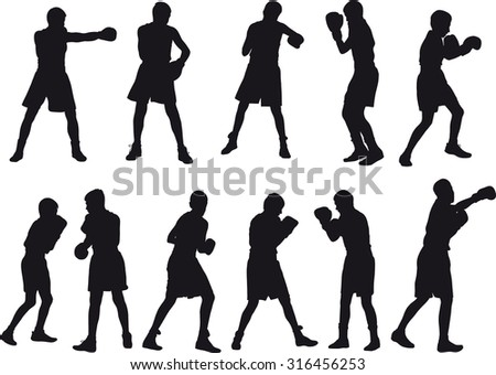 Silhouette of teenage boxers in different sports situations