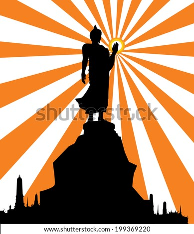 Silhouette of Thai Buddha - stock vector