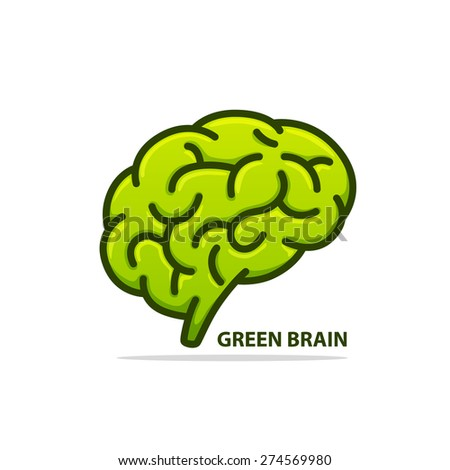 Silhouette of the brain green on a white background. Vector illustration - stock vector