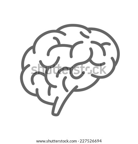 Silhouette of the brain on a white background. Vector illustration - stock vector
