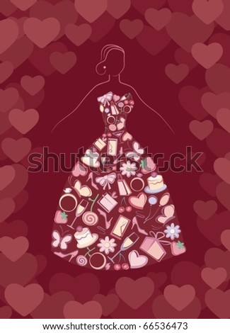 Silhouette of the bride with wedding symbols - stock vector