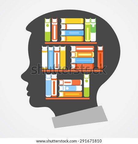 Silhouette of the child's head with shelves and books. Concept of Education - stock vector