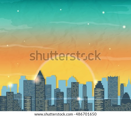Silhouette of the city at sunrise. Vector illustration