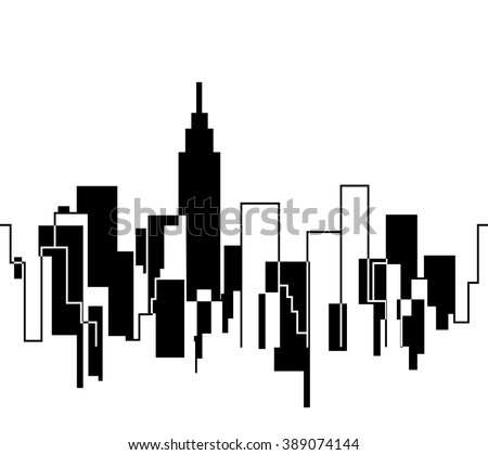 Silhouette of the Cityscape Skyline vector illustration background New York skyscraper - stock vector