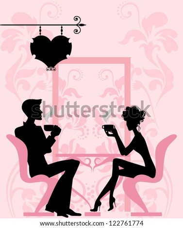 Silhouette of the couple in the cafe - stock vector