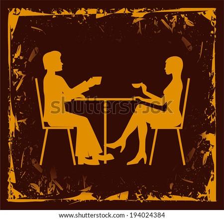 Silhouette of the couple in the cafe. EPS10 with transparency - stock vector