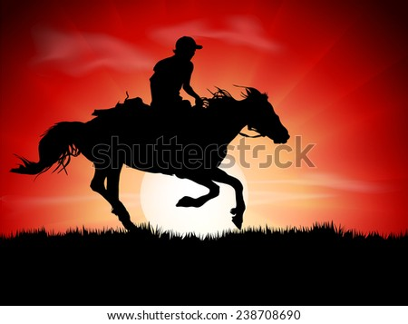 Silhouette of the equestrian of the jockey riding on sunrise  - stock vector