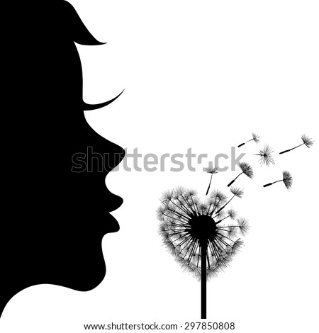 Silhouette of the girl and dandelion. Dandelion in the form of heart. Vector Image Stock. - stock vector