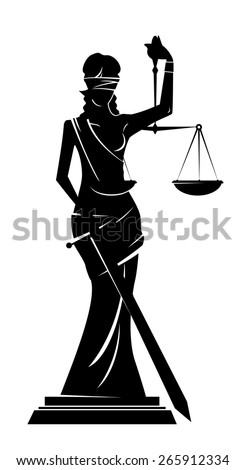 silhouette of the goddess of justice Themis - stock vector