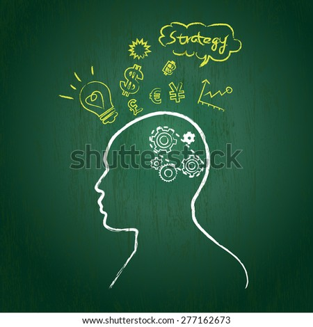 silhouette of the head, brain,  wheel, gear bulb, and currency