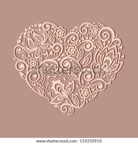 silhouette of the heart symbol decorated with floral pattern, a design element in the old style.   - stock vector