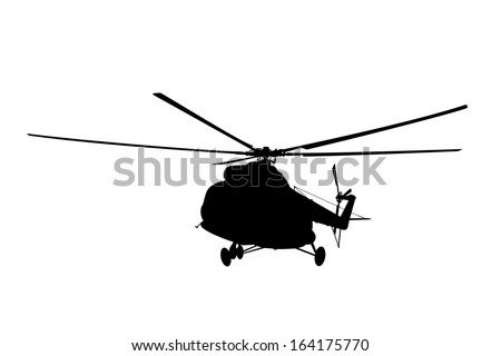 Silhouette of the helicopter. - stock vector