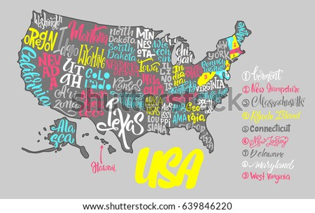 Silhouette Map Usa Handwritten Names States Stock Vector - Us map texas vector