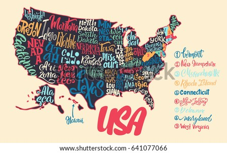 Silhouette Map Usa Handwritten Names States Stock Vector - Map usa iowa