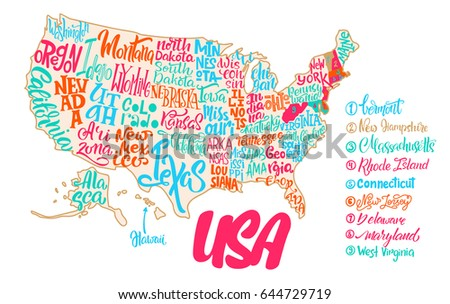 Silhouette Map Usa Handwritten Names States Stock Vector - Iowa map usa