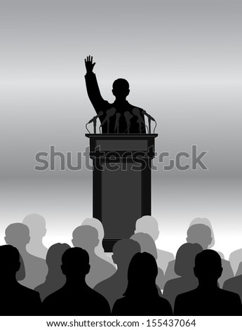 silhouette of the person among public - stock vector