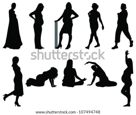Silhouette of the pregnant woman - stock vector