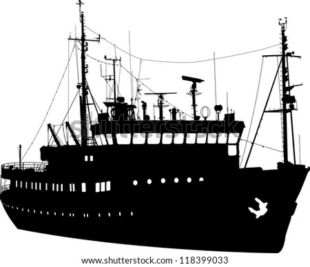 Silhouette of the sea fishing ship