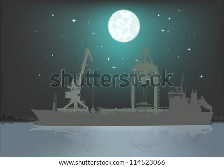 Silhouette of the sea tanker ship and port's cranes under moon and stars
