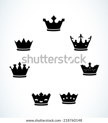 silhouette of the set of seven crowns, vector