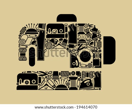 Silhouette of the sewing machine from sewing and needlework symbols  - stock vector