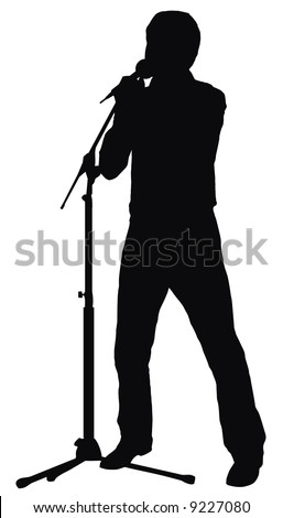 silhouette of the singer - stock vector