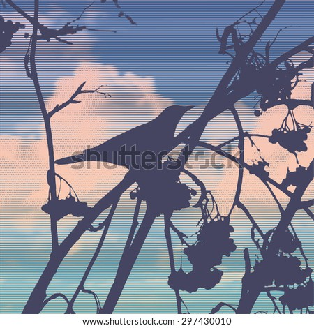 silhouette of the small bird on a branch of a mountain ash and clouds. vector illustration. - stock vector